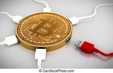 fils, usb, bitcoin, connecté, blanc rouge