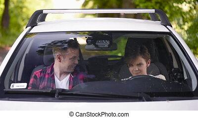 fils, voiture, père