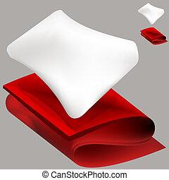 filt, mjuk, kudde, röd