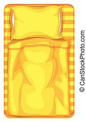 filt, säng, gul, kudde