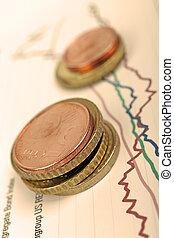 filter., financier, sélectif, pièces, pose, graphique, foyer, chaud, euro