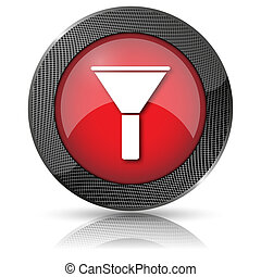 Filter icon - Red shiny glossy icon on white background.