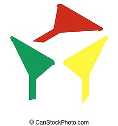 Filter simple sign. Isometric style of red, green and yellow icon.