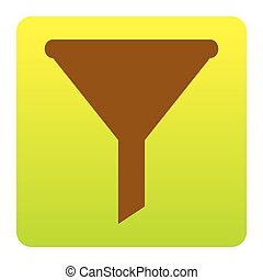 Filter simple sign. Vector. Brown icon at green-yellow gradient square with rounded corners on white background. Isolated.
