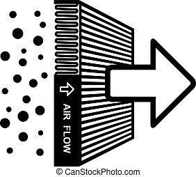filter, symbol, vektor, indvirkning, luft