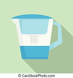 Filter water jug icon, flat style - Filter water jug icon. ...