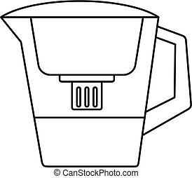 Filter water jug icon, outline style - Filter water jug icon...