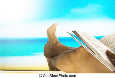 filtered:, vendemmia, libro, spiaggia, lettura