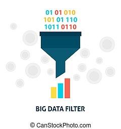 filtr, cielna, pojęcie, dane, płaski