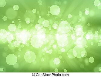 filtrado, bokeh, extracto verde, fondo.