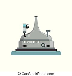 Filtration beer tank, brewing production process vector Illustration on a white background