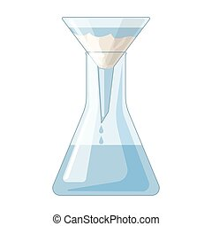 Filtration of water solution in a conical flask icon in cartoon style isolated on white background. Water filtration system symbol stock vector illustration.