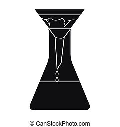 Filtration of water solution in a conical flask icon in black style isolated on white background. Water filtration system symbol stock vector illustration.