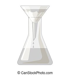 Filtration of water solution in a conical flask icon in monochrome style isolated on white background. Water filtration system symbol stock vector illustration.