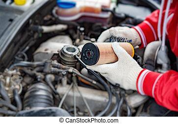 filtre, spécialiste, remplace, voiture., huile