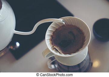 filtrera, kaffe, cafe, droppa, kaffe