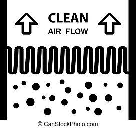 filtrera, symbol, verkan, luft