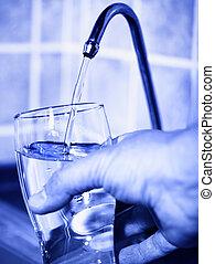 filtro, agua, fluir, hogar, grúa, purificado