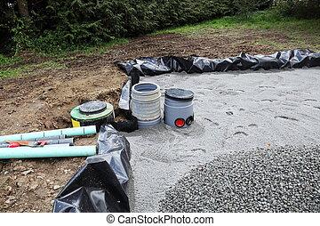 filtro, arena, instalación, aguas residuales