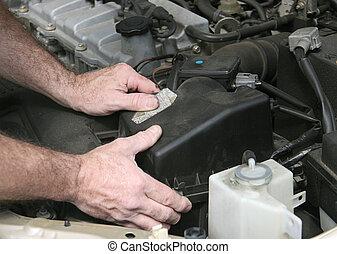 filtro, cubierta, mecánico, manos