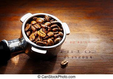 filtro, espresso, caffè, metallo, fagioli