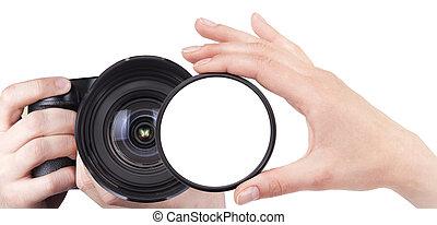 filtro, macchina fotografica, isolato, spazio bianco