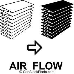 filtro, símbolo, pretas, ar