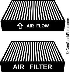 filtro, símbolos, vetorial, ar
