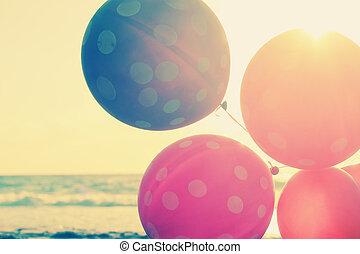 fim, balões, cima