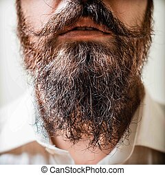 fim, bigode, cima, longo, barba