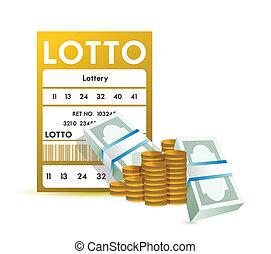 fim, bilhete, loteria, cima, dinheiro