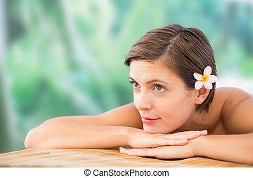 fim, bonito, tabela, massagem, cima, mulher