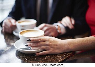 fim, café, bebendo, par, cima
