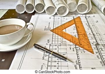 fim, casa, desenhos técnicos, cima, plano
