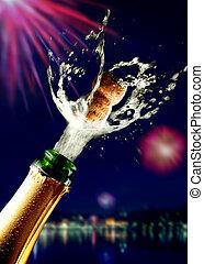 fim, champanhe, cima, estalar, cortiça