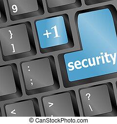 fim,  -, cima,  key), teclado, Conceitual,  (blue, segurança, vista