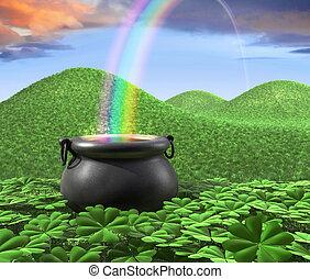 fim, de, arco-íris