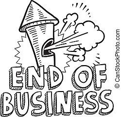 fim, de, negócio, apito, esboço