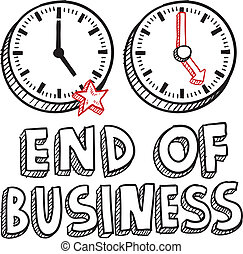 fim, de, negócio, dia trabalho, esboço