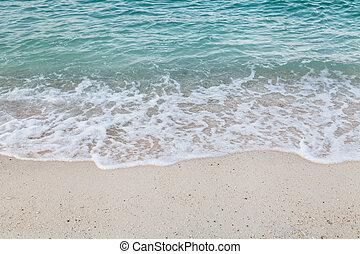 fim, espalhar, praia, cima, onda