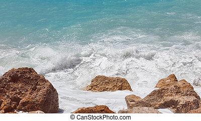 fim, espuma, cima, costa mar