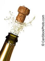 fim, estalar, champanhe, cima, cortiça