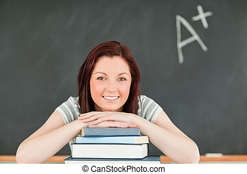 fim, estudioso, mulher, cima, jovem