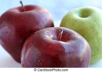 fim, fruta fresca, maçã, cima
