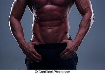 fim, homem,  torso, cima, condicão física