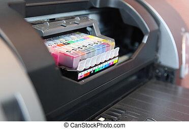 fim, impressora, cima, inkjet