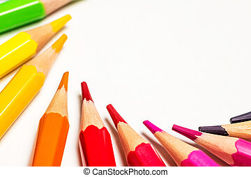 fim, lápis, cima, cor, branca, isolado, fundo