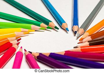 fim, lápis, cima, cor, fundo branco