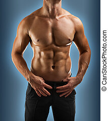 fim, macho, torso, cima, muscular