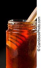fim, mergulhador mel, jarro, cima